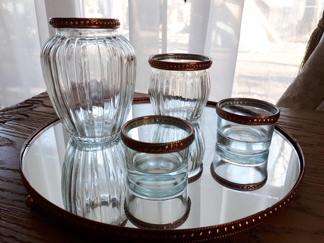 Stikla svečturu ar kapara maliņu komplekts