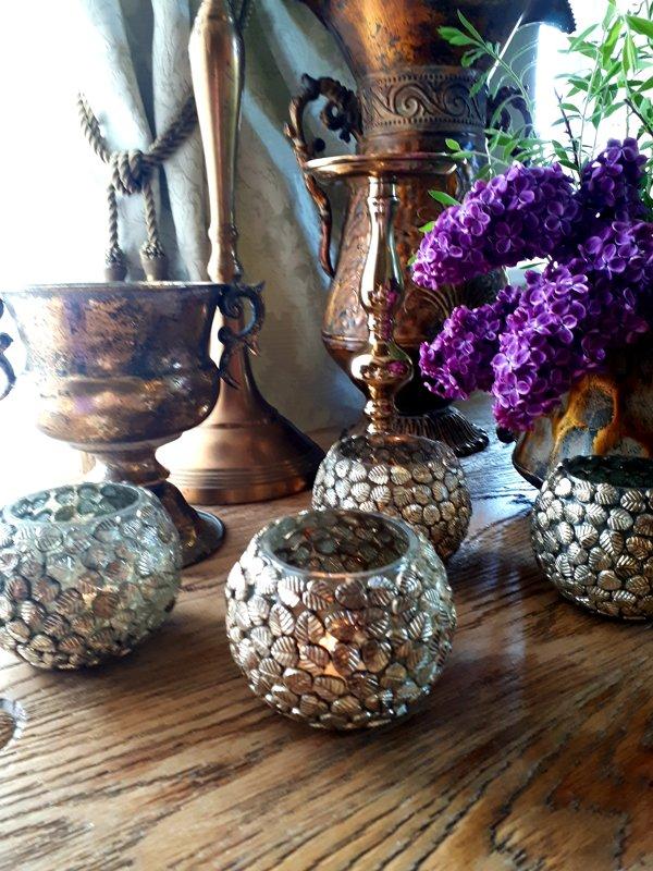 Zelta/vara krāsas svečturi tējas svecēm ar lapiņu mozaīku