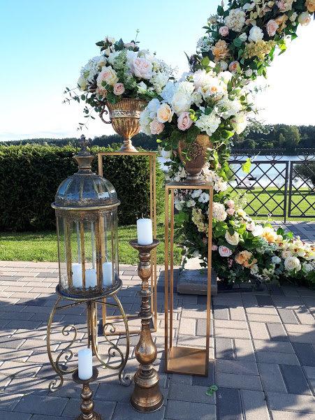 Augstie metāla svečturi/statīvi antīka zelta