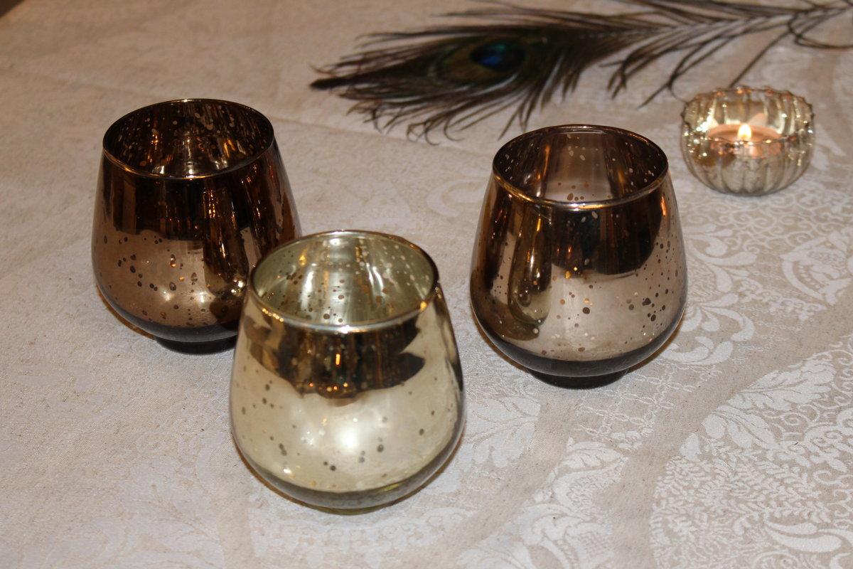 Stikla svečturi zelta, kapara, bronzas krāsā