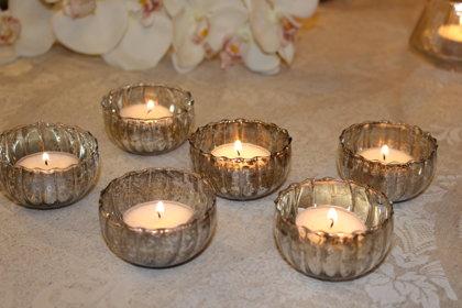 Mazie tējas sveču trauciņi sudraba krāsā