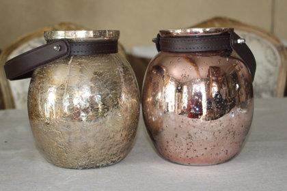 Stikla laternas zelta un rozā zelta