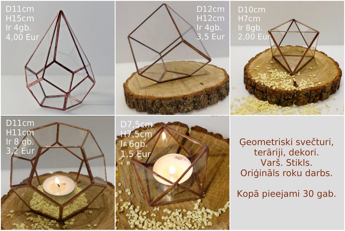 Vara (kapara) ģeometriskas formas svečturi, terāriji