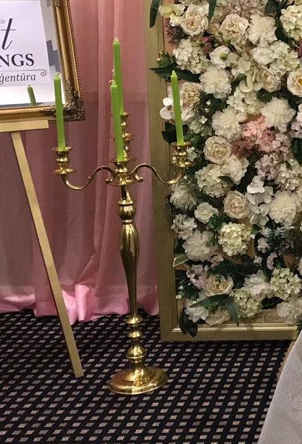 Zelta piecžuburu svečturi 80 cm
